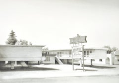 Sunliner (Photo-Realist Black & White Watercolor Painting of Retro Motel)