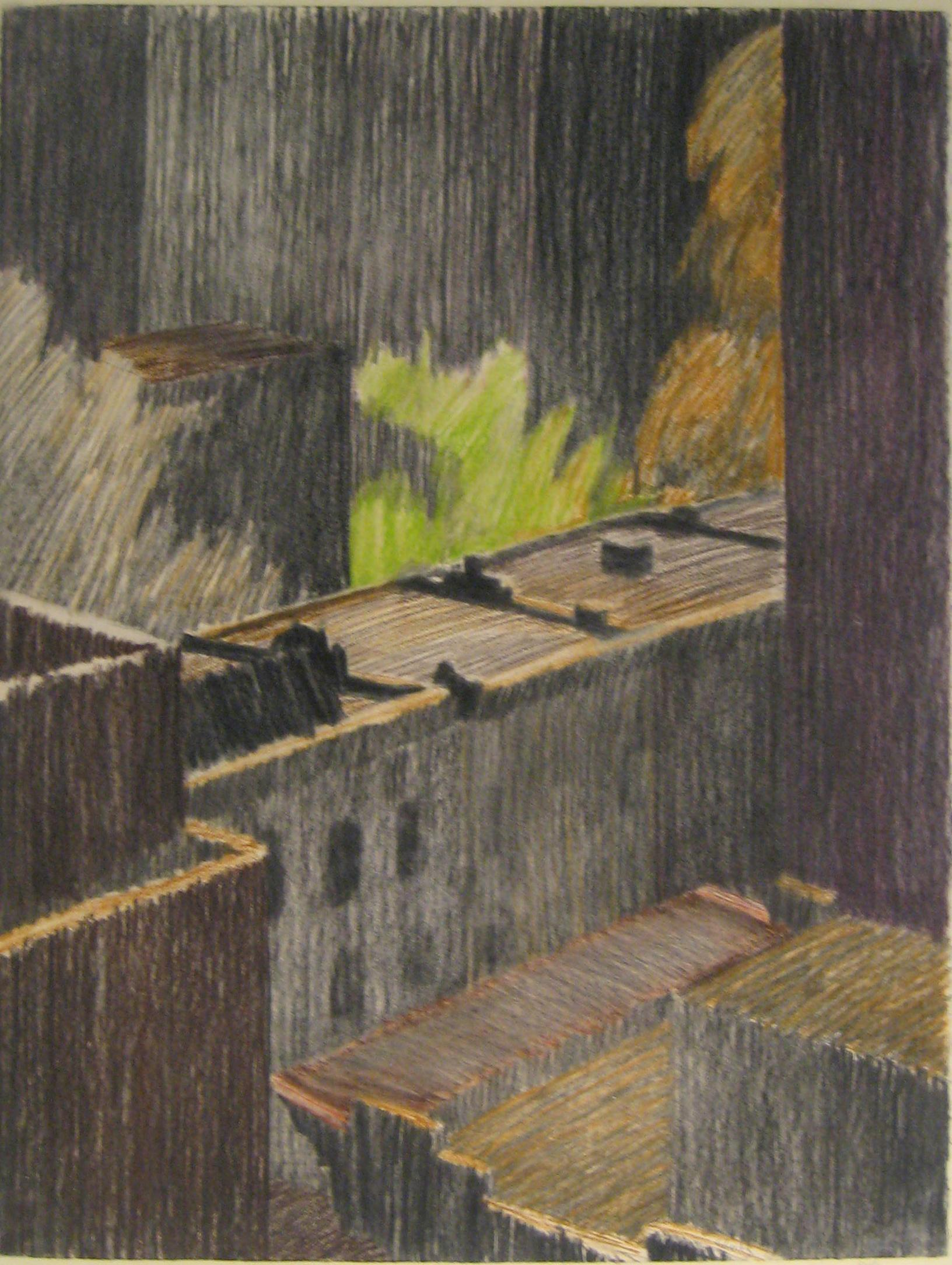 Rooftops (Framed 1970's New York Cityscape Landscape Drawing by William Clutz)