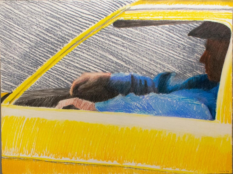 "Cab, 1978 (Bright Yellow Pastel Drawing of Taxi Driver) by William Clutz Yellow, Blue, and Black Figurative Pastel of New York City Cab Driver Created by William Clutz in 1978 22 1/2"" X 29"" inch pastel on paper 25.5 x 32 x 1.5 inches in custom light"