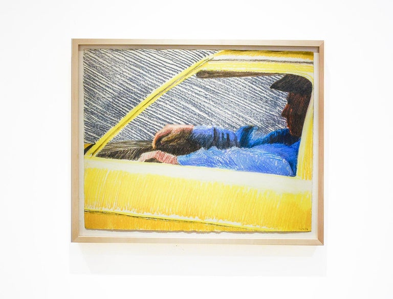 Cab, 1978 (Bright Yellow Pastel Drawing of Taxi Driver) by William Clutz For Sale 1