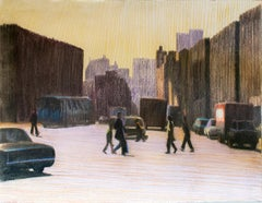 Lafayette Sq Crossing 1976 (Framed Modern Pastel of NYC Street by William Clutz)
