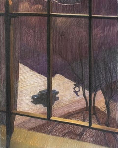 Looking Down Morning Side (Framed Colorful Pastel of NYC Window, William Clutz)