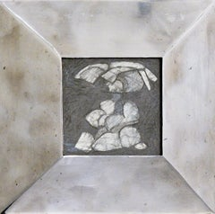 Infanta LVI (Small Abstract Cubist Graphite Drawing in Vintage Silver Frame)