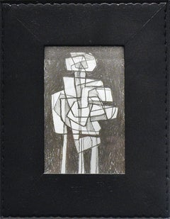 Infanta LVII (Abstract Figurative Graphite Drawing in Vintage Black Frame)