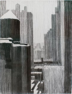 Out the Window 9th Floor (Black and White Pastel NYC Drawing) by William Clutz