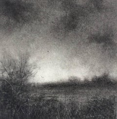 Edgeland XV (Miniature Realistic Landscape Drawing in Black Charcoal, Framed)