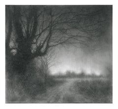 And the Rain Coming Down (Moody Charcoal Landscape Drawing of Country Road)