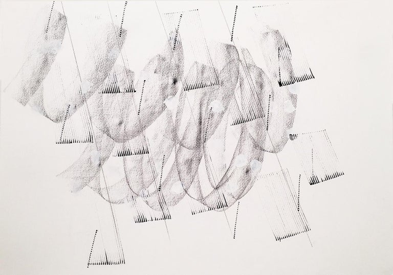 Jeanette Fintz Abstract Drawing - Contemporary, Minimalist Black and White Line Drawing  (Energy Clearing #13)