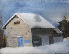 Blue Door Barn (En Plein Air Landscape Pastel Drawing of Snow & Barn in Winter)