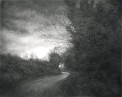 The Soft Edge of the Day (Contemporary Charcoal Landscape of Country Road)