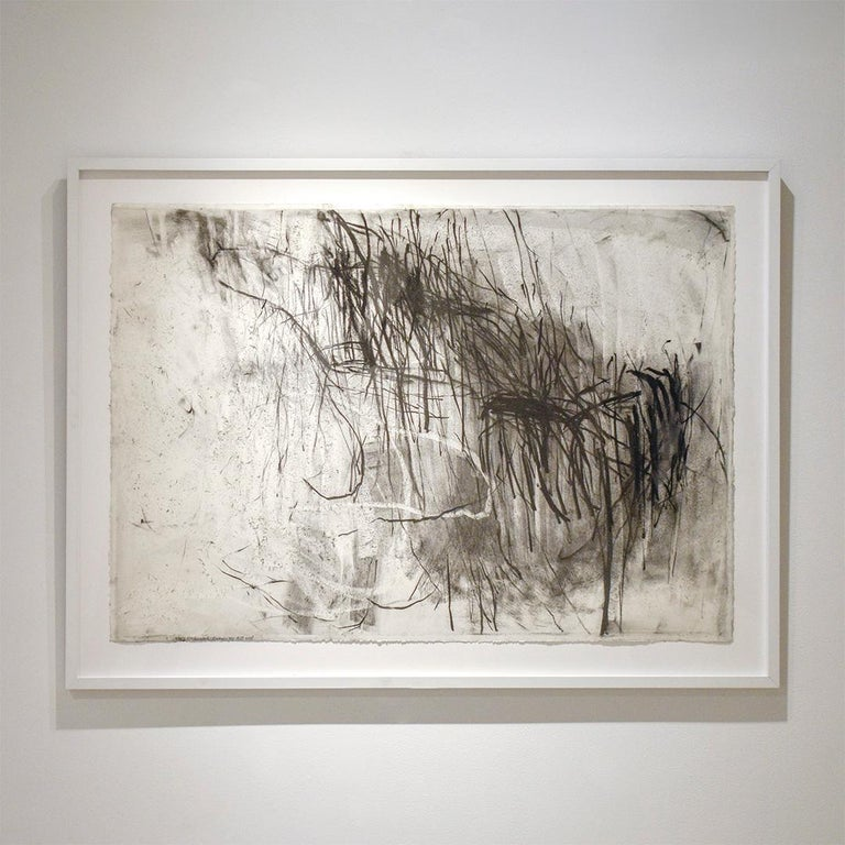 Olivebridge Drawing 30 (Abstract Gestural Charcoal Drawing) by Gary Buckendorf 30 x 40 inches, charcoal and mixed media on paper with deckled edge 36.5 x 51 x 1 inches framed Piece is floated in contemporary white wood, square edge