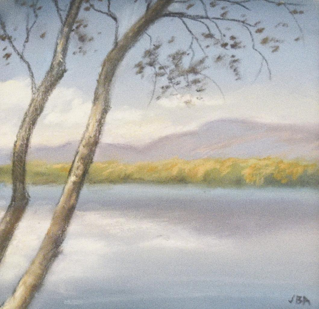 Spring on Water's Edge (Hudson River School Landscape Drawing of Blue Mountains)
