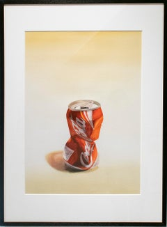 Coca Cola (Photo-Realist Watercolor Pop Art Painting of Crushed Red Soda Can)
