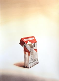 Marlboro II (Photo-Realist Pop Art Still Life Painting of a Red Cigarette Pack)
