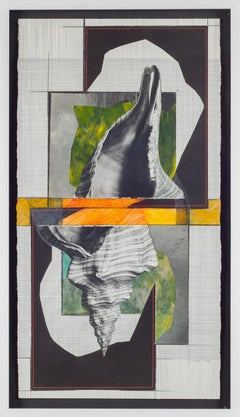 Shell 3 (Abstract Black and White Mixed Media Grid Collage with Graphic Shell)