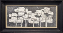 Waterlilies 22 (Abstract Figurative Graphite Drawing in Antique Black Frame)