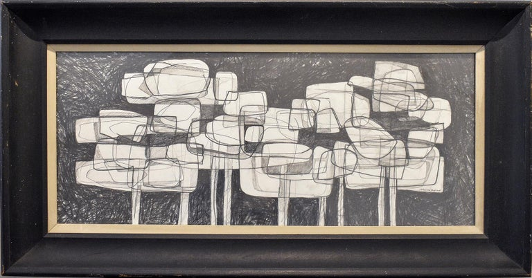 David Dew Bruner Figurative Art - Waterlilies 22 (Abstract Figurative Graphite Drawing in Antique Black Frame)
