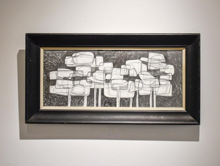 Waterlilies 22 (Abstract Figurative Graphite Drawing in Antique Black Frame) - Art by David Dew Bruner