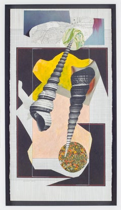 Shell 1 (Abstract Black and White Mixed Media Grid Collage with Graphic Shell)