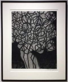 Untitled No. 15 (Abstract Black & Grey Charcoal Drawing with Mat & Black Frame)