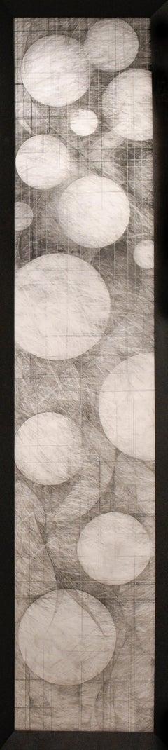 Moons of Jupiter: Abstract Geometric Graphite Drawing, Vintage Black Wood Frame