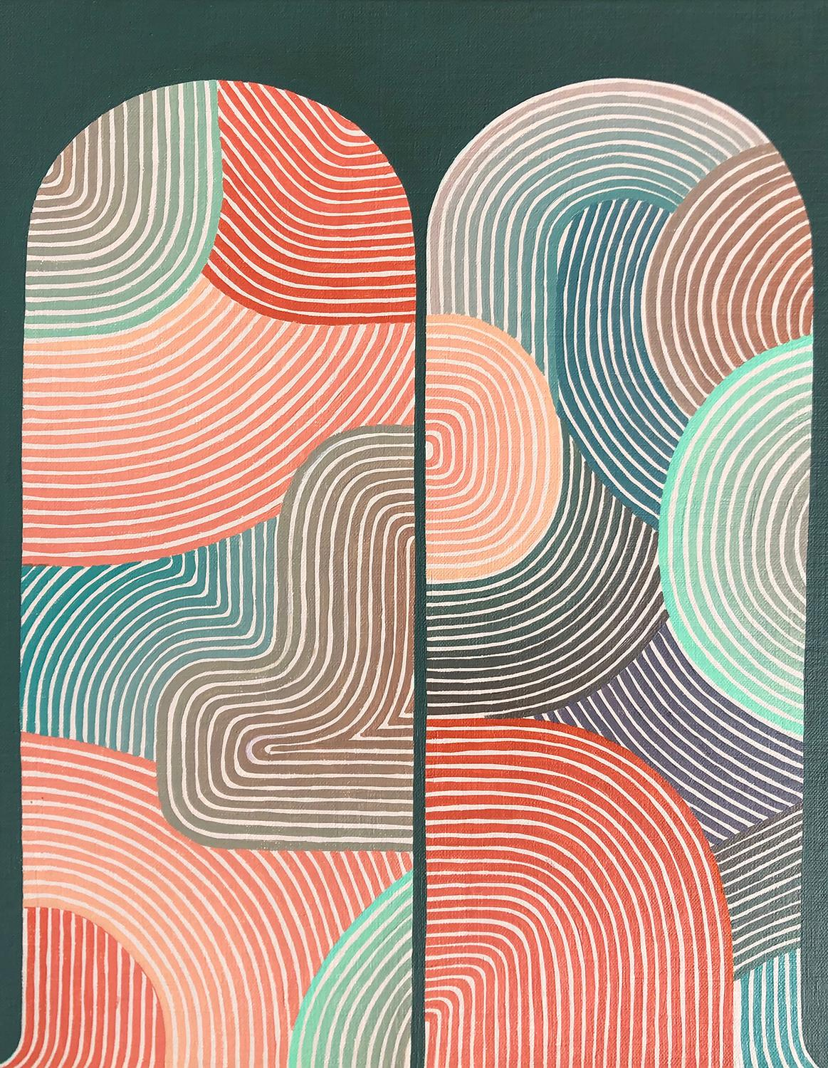 Moon (Graphic Abstract Painting in Red, Dark Teal & Yellow)