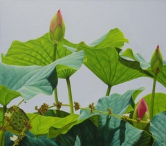Lotus Forty Nine: Photo Realist Still Life Painting of Green Lotus & Pink Flower