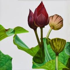 Lotus No. 32 (Photorealist Still Life Painting of Green Leaves & Magenta Flower)
