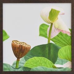 Lotus No. 34 (Photo-Realist Still Life Painting of Pink & Green Lotus Flowers)