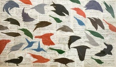 Birds and Folk Songs (Figurative Chalk Drawing of Colorful Flying Birds)