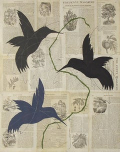 Penny Bird (Figurative Chalk Drawing of Birds and Flora on Vintage Book Pages)