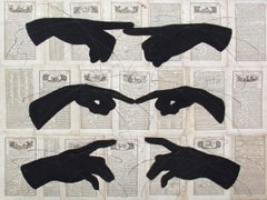 Future is Ours (Figurative Drawing of Hand Silhouettes on Vintage Book Pages)