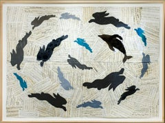 Contrapuntal Singing (Figurative Animal Chalk Drawing with Collaged Music Pages)