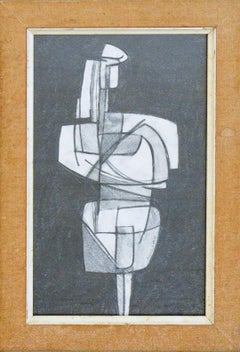 Infanta XXXIX: Figurative Cubist Style Abstract Geometric Graphite Drawing