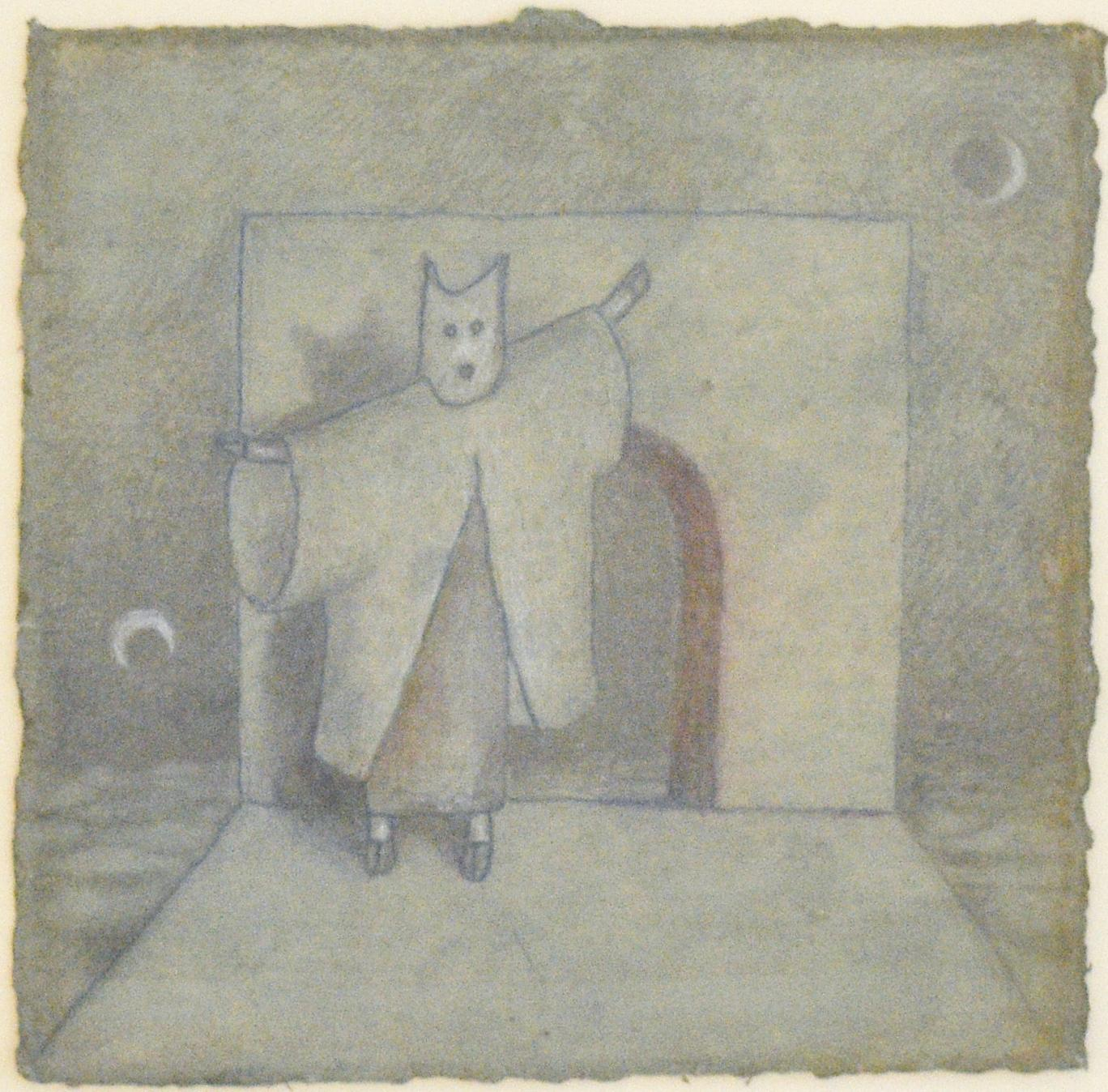 Der Fled Maus (Figurative Drawing of Costumed Man with Moon on Teal Paper)