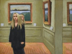 Doubletake (Figurative Painting of Blonde Women with Green Walls at Met Museum)