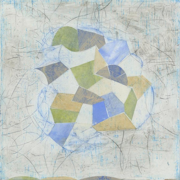 Donise English Abstract Painting - Little Blue (Abstract Geometric Mixed Media Encaustic Work on Wooden Panel)