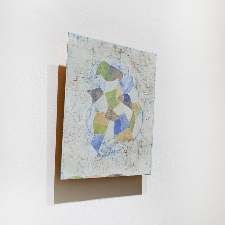 Little Blue (Abstract Geometric Mixed Media Encaustic Work on Wooden Panel) - Gray Abstract Painting by Donise English