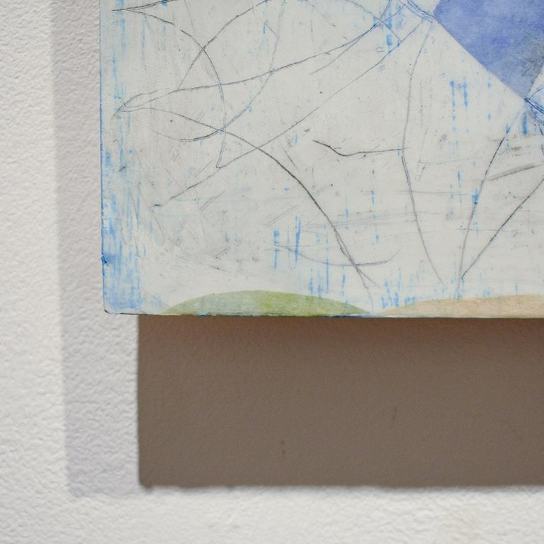 Little Blue (Abstract Geometric Mixed Media Encaustic Work on Wooden Panel) For Sale 1