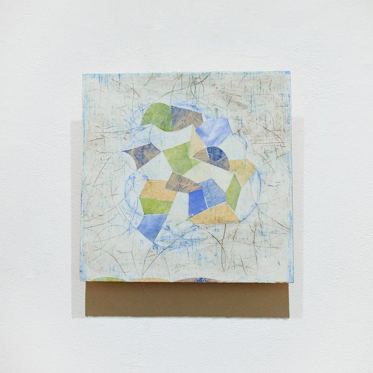 Little Blue (Abstract Geometric Mixed Media Encaustic Work on Wooden Panel) - Painting by Donise English