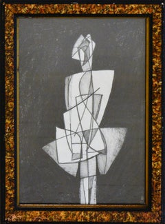 Infanta LVIII: Figurative Cubist Style Abstract Geometric Graphite Drawing