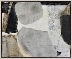 Inhale (Abstract Encaustic Painting with Grey, White, Dark Blue, & Beige Fabric)
