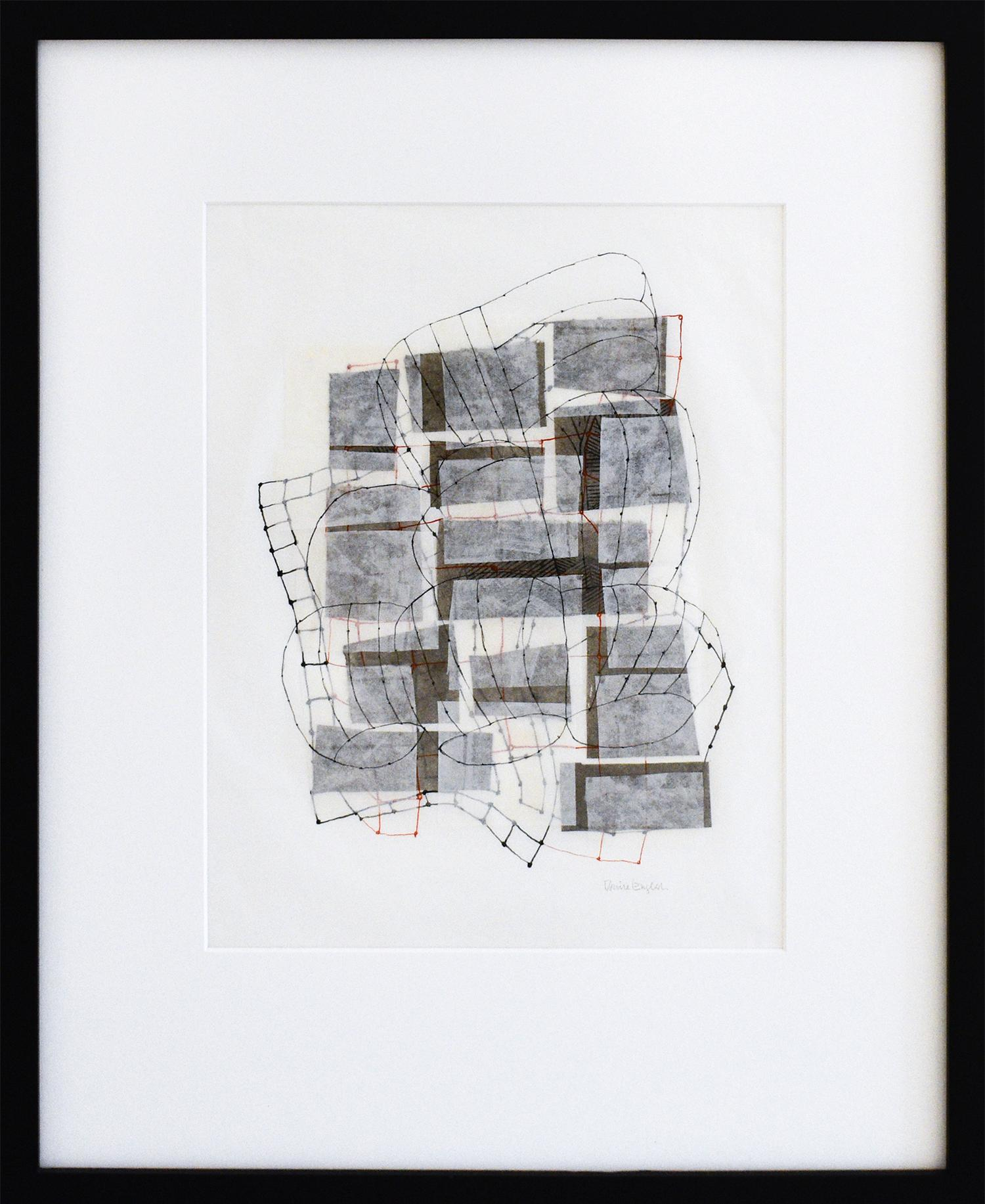 Layered Plan #6 (Abstract Geometric Black & White Mixed Media Collage on Paper)