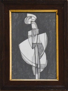 Infanta LVX: Abstract Cubist Style Figurative Graphite Drawing, Vintage Frame