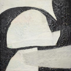 Billow's Reach (Abstract Encaustic Painting with Beige, Grey & Black)