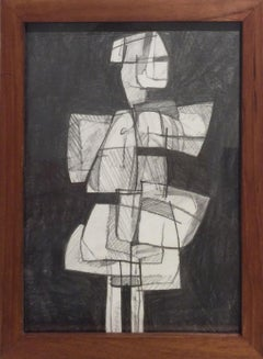 Infanta XLIX: Figurative Cubist Style Abstract Geometric Graphite Drawing