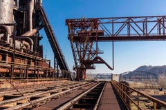 Steel Mill Exterior II (Industrial Photography of Abandoned Factory w/ Blue Sky)