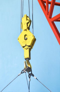 Boatyard Lift (Photo-realist Oil Painting of a Red & Yellow Crane on Blue)