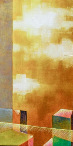 Summer in the City (Abstract Painting of New York City Skyline in Golden Yellow)