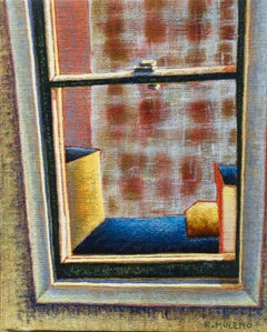 Locked Window: Abstracted Interior Painting of the View from a City Window